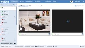 Capture d'écran de l'application web de vidéosurveillance Ivideon